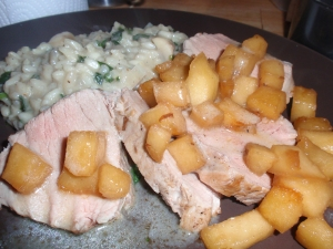 Pork Tenderloin with Stewed Apples and Spinach Risotto
