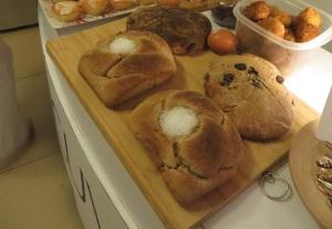 bread and salt, bread, scotch eggs