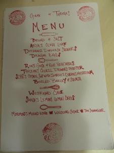Fancy menu of the evening