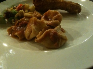 Ricotta-parmesan filled tortellini in tomato sauce. Ricotta-bacon jam tortellini were heavenly and devoured instantly.