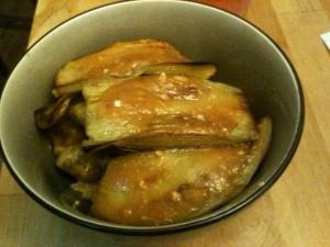 MIso Roasted Eggplant over pan seared tofu and quinoa
