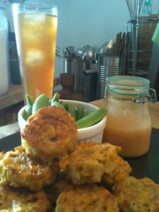 Zucchini Corn and Quinoa Fritters served with sugar snap peas, Sriracha aioli and lemon iced tea.